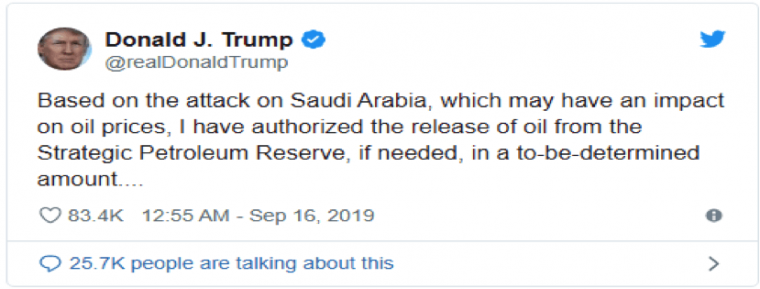 donald trump tweet based on attack on Saudi Arabia