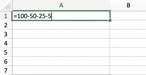 How to Subtract Two or More Numbers In a Cell